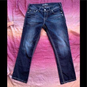 Silver Suki Capri Jeans, like new!